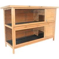 Clapier sur pieds cage à lapin double niveau plateaux excréments coulissants 4 portes verrouillables dim. 137L x 50l x 93H cm bois massif pin toit bitumé vert