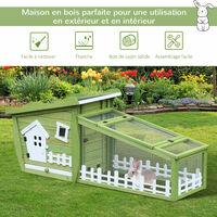 Clapier cage à lapins style cabane et pré dim. 155L x 55l x 65H cm multi-équipement bois massif pin vert blanc