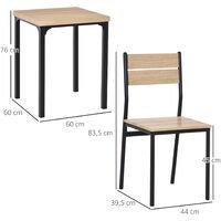 Table avec 2 chaises style industriel acier noir MDF coloris bois de chêne