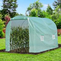 Serre de jardin tunnel surface sol 6 m² 3L x 2l x 2,10H m châssis tubulaire renforcé porte zippée 4 fenêtres enroulables vert