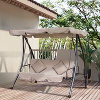 Balancelle de jardin convertible 3 places grand confort inclinaison toit réglable matelas fourni 2L x 1,25l x 1,7H m métal polyester noir et beige