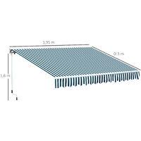 Store banne électrique et manuel rétractable dim. 3,95L x 3l (avancée) m télécommande fournie alu. polyester haute densité imperméabilisé anti-UV vert blanc rayé