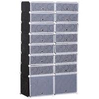 Armoire à chaussures range chaussures L 95 x l 37 x H 160 cm 14 cubes rectangulaires et 2 grands cubes noir et blanc 17