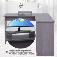 Bureau d'angle pour ordinateur table informatique 140L x 120l x 75H cm 3 niches 1 tiroir panneaux particules gris