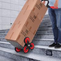 Diable pour escalier 6 roues diable repliable extensible 150 Kg - chariot pliable acier noir rouge
