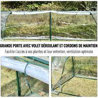 Serre de jardin tunnel 2,5L x 1l x 0,8H m grande porte zippée bâche PVC transparent métal époxy vert