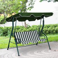 Balancelle de jardin 3 places toit imperméabilisé inclinaison réglable coussins assise dossier 1,7L x 1,1l x 1,53H m métal époxy polyester vert blanc rayé