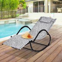 Chaise longue à bascule rocking chair design contemporain dim. 160L x 61l x 79H cm métal textilène gris chiné