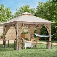 Pavillon de jardin tonnelle barnum style colonial double toit toiles moustiquaires amovibles zippées dim. 3L x 3l x 2,75H m beige noir