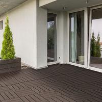 Caillebotis - dalles terrasse - lot de 9 - emboîtables, installation très simple - petits carreaux composite plastique imitation bois chocolat
