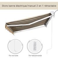 Store banne électrique / manuel rétractable protection UV 50 + aluminium polyester imperméabilisé 2,45 x 2 (avancée) m télécommande fournie marron beige rayé