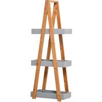 Etagère en bambou de salle de bain étagère debout 3 paniers dim. 30L x 18l x 81H cm bambou MDF gris