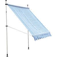 Store banne manuel rétractable 2,5L x 1,5l x 2-3H m inclinaison réglable installation rapide métal alu polyester bleu blanc rayé
