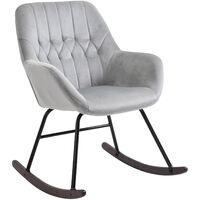 Fauteuil à bascule grand confort accoudoirs assise dossier garnissage mousse haute densité velours gris clair