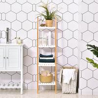 Etagère en bambou de salle de bain 4 niveaux à lattes dim. 35L x 36l x 138H cm bois pin blanc