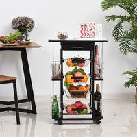 Chariot de service desserte de cuisine à roulettes multi-rangements 4 paniers métal tiroir + 4 range-bouteilles bois pin noir plateau carrelé blanc