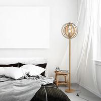 Lampadaire sur Pied Circulaire 40 W Max. Abat-Jour bois naturel clair dim. Ø 38 x 160 cm