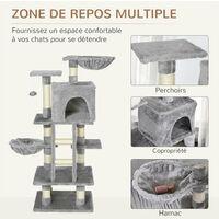 Arbre à chats multi-équipements griffoirs grattoirs niche plateformes + échelle + hamacs + boule suspendue gris