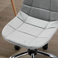 Chaise de bureau effet capitonné hauteur réglable pivotant 360° piètement chromé velours gris