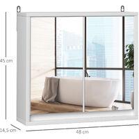 Armoire murale miroir salle de bain 2 étagères dim. 48L x 14l x 45H cm panneaux particules MDF blanc