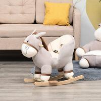 Cheval à bascule modèle âne fonction musicale selle grand confort peluche courte douce bois peuplier gris dim. 61L x 34l x 58H cm