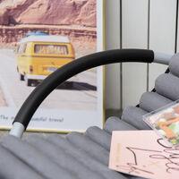 Chaise longue à bascule pliable rocking chair design contemporain avec matelas revêtement aspect daim métal textilène gris noir
