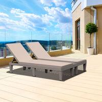 Bain de soleil transat 2 places design - grand confort - matelas déhoussable beige, inclinaison réglable multi-positions - polypropylène texturé imitation bois gris