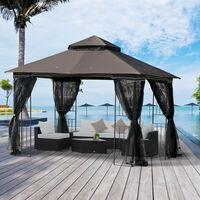 Tonnelle barnum style colonial double toit toile moustiquaires amovibles 4 étagères d'angle métal époxy polyester chocolat