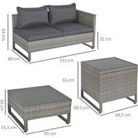 Ensemble salon de jardin d'angle 4 places coussins déhoussables table basse coffre rangement acier époxy résine tressée grise