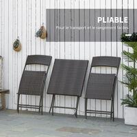 Ensemble meubles de jardin design table carré et chaises pliables résine tressée 4 fils métal noir