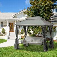 Balancelle de jardin 3 places convertible style colonial grand confort 5 coussins + matelas + moustiquaires inclus 2,56L x 1,72l x 2,48H m gris