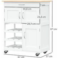 Desserte de cuisine multi rangements 2 tiroirs 2 placards tiroir casier 9 bouteilles MDF blanc plateau bois caoutchouc