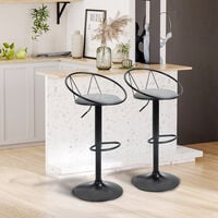 Lot de 2 tabourets de bar design néo-rétro réglable pivotant avec repose-pied métal noir lin gris