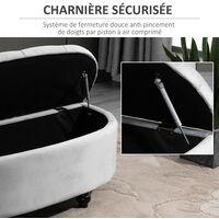 Pouf de rangement coffre 2 en 1 - pouf design classique chic capitonné demi-cercle - pieds bois hévéa noir revêtement velours gris