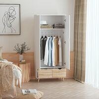 Armoire de rangement design scandinave - armoire de chambre - placard 2 portes avec penderie et étagère - 2 tiroirs coulissants - panneaux particules blanc chêne clair