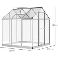 Serre de jardin aluminium polycarbonate 3,3 m² dim. 1,83L x 1,82l x 1,95H m fondation lucarne porte loquet