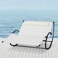 Bain de soleil transat à bascule 2 places design contemporain assise dossier ergonomiques oreiller fourni métal noir textilène crème
