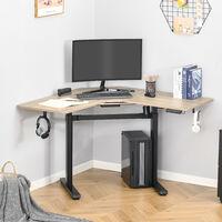 Bureau assis debout électrique - bureau réglable en hauteur - bureau électrique réglable - bureau d'angle - alu. noir aspect chêne clair