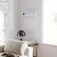 Radiateur mural soufflant oscillant 2000 W - chauffage céramique PTC - 3 niveaux de puissance - télécommande incluse blanc argenté