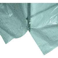 Serre de jardin tunnel 5 m² 2,45L x 2l x 1,98H m acier renforcé Ø 1,8 cm + PE haute densité 140 g/m² fenêtres porte déroulante vert