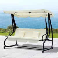 Balancelle de jardin 3 places convertible toit inclinaison réglable 2 tablettes support 2L x 1,2l x 1,64H m métal époxy noir polyester crème