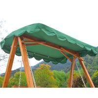 Balancelle de jardin 3 places 2 tablettes support 1,95L x 1,3l x 1,85H m charge max. 360 Kg bois de pin vert