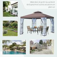 Tonnelle barnum style colonial double toit toile moustiquaires amovibles 3 x 3 x 2,65 m chocolat et blanc