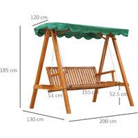 Balancelle de jardin 3 places avec toile toit 2 tablettes support charge max. 360 Kg bois de mélèze lasuré vert