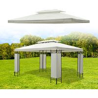 Toile de toit de rechange pour pavillon tonnelle tente 3x4m crème
