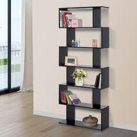 Bibliothèque étagère zig zag design contemporain 80L x 23l x 192H cm 6 niveaux noir
