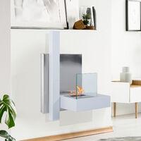 Cheminée bioéthanol murale design Bauhaus 1 brûleur 1,5 L 75L x 22l x 63H cm couverture 20-25 m² acier blanc inox. brossé