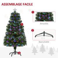 Sapin de Noël artificiel lumineux fibre optique LED multicolore + support pied Ø 66 x 120H cm 130 branches étoile sommet brillante vert