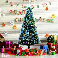 Sapin de Noël artificiel lumineux fibre optique LED multimode multicolore + support pied Ø 84 x 180H cm 230 branches étoile sommet brillante vert
