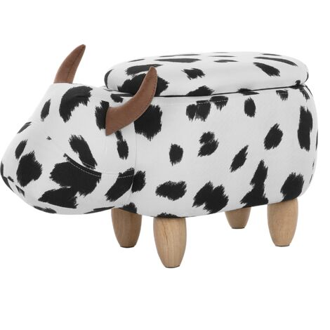 Modern Fabric Stool Black and White Upholstery Storage Solid Wood Animal Cow